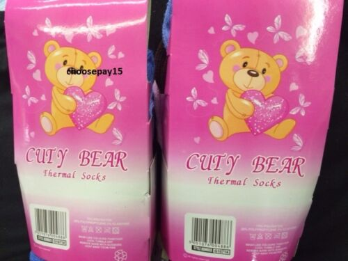 ALL SIZE 12 PAIRS OF GIRLS WINTER WARM OUTDOOR THERMAL SOCKS CUTE BEAR DESIGN