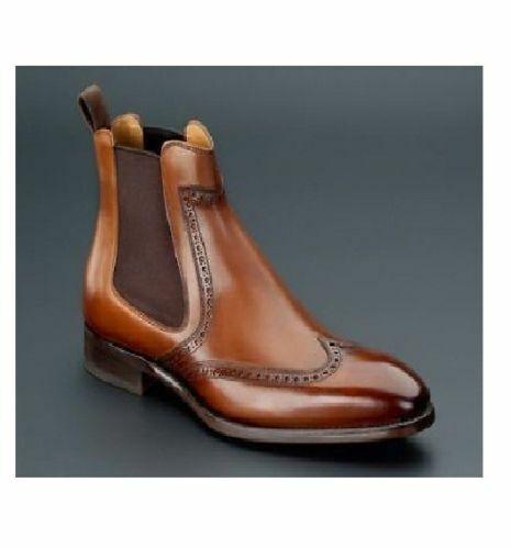 botas para hombre Hecho a Mano Marrón Wing Tip Estilo Chelsea Tobillo formal Vestido Informal Zapato