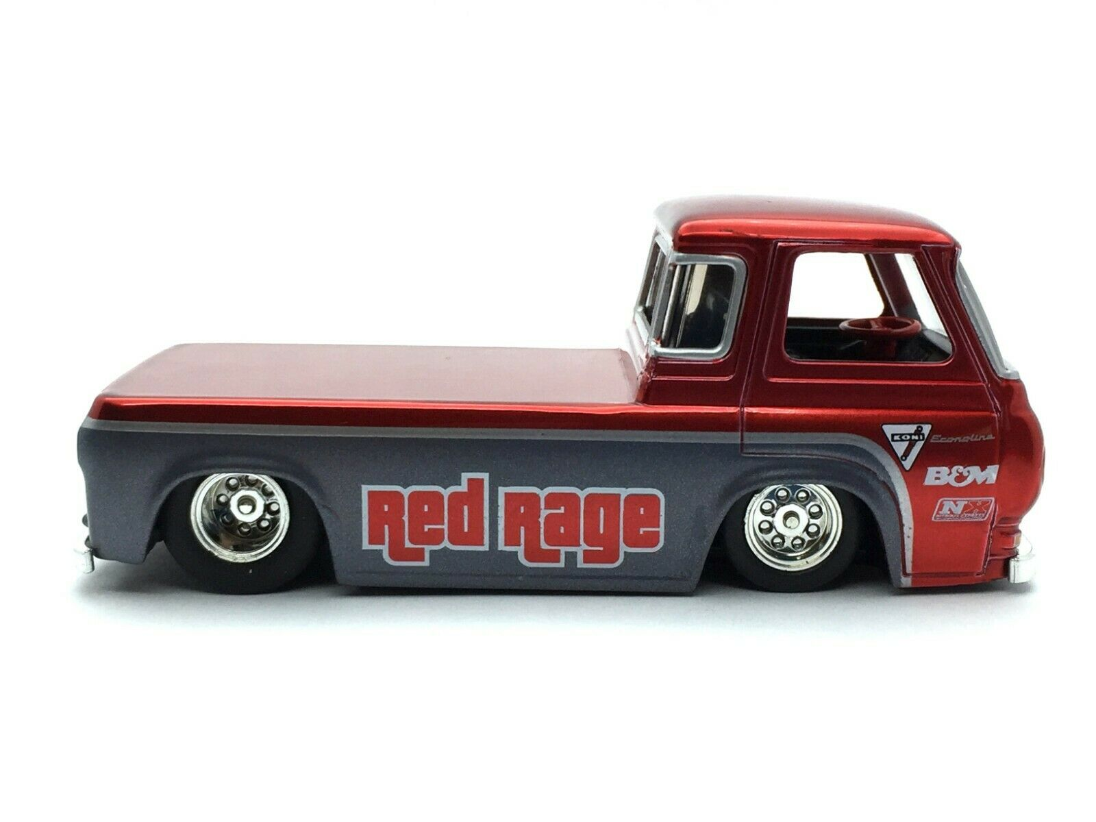 Jada Bigtime Muscle 1965 65 Ford Econoline Pick Up Camión rosso RAGE DIE CAST 1 64