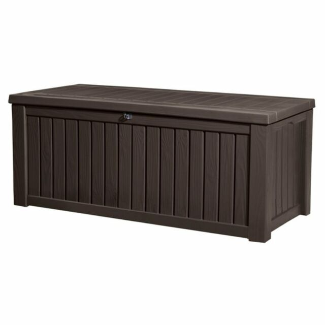 Keter Rockwood Plastic Storage 150 Gallon Patio Outdoor Bench Deck Box In Brown For Online