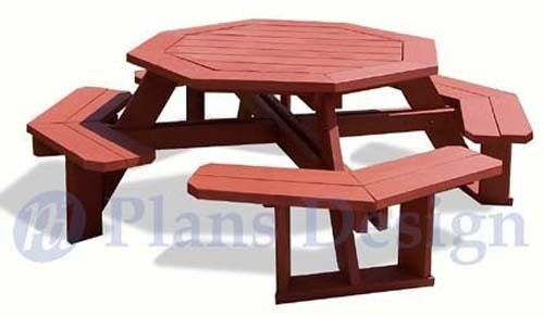 Octagon Style Picnic Table With Bench Woodworking Outdoor Furniture Plans Patter For Sale Online Ebay