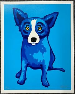 George-Rodrigue-BLUE-DOG-2005-Blue-Skies-Shining-on-Me-HAND-SIGNED-NUMBERED-MINT