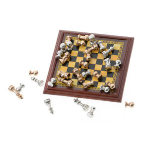 Hot-Sale-Dollhouse-Miniature-1-12-Toy-A-Set-Of-Metal-Chess-Set-HWGPT
