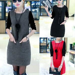 Women-Loose-Long-Sleeve-Splice-Pocket-O-Neck-Plus-Velvet-Padded-Sweatshirt-Dress