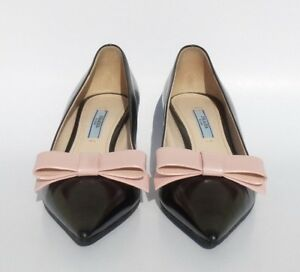 032ae028e7a PRADA Black Polished Leather Rose Pink Bow Pointed Toe Mid Kitten ...