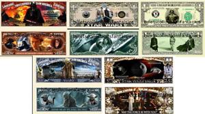 Lot de 5 Billets différents Collection // Commémoration STAR WARS USA
