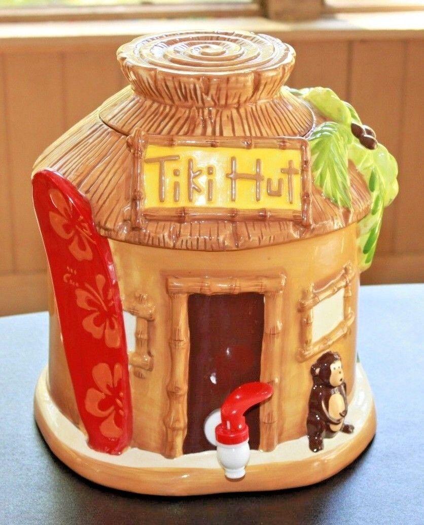 Hawaiian TIKI HUT Boisson Distributeur Céramique Singe Palmier Parti décoration Luau
