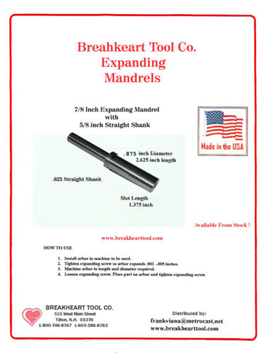 with 5//8 Inch Straight Shank American Made Arbor 7//8 inch Expanding Mandrel
