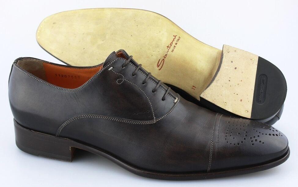 la migliore offerta del negozio online Uomo SANTONI SANTONI SANTONI 'Stafford' Dark Marrone Leather Cap Toe Oxfords Dimensione US 11 - D  bellissimo