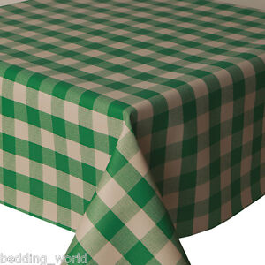 Image Is Loading PVC TABLE CLOTH PICNIC GREEN GINGHAM CHECK WIPEABLE