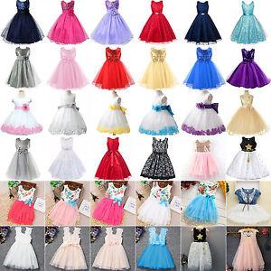 Flower-Girls-Princess-Dress-Kids-Baby-Party-Wedding-Bridesmaid-Tulle-Tutu-Dress