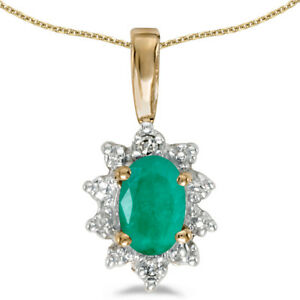 10k-Yellow-Gold-Oval-Emerald-And-Diamond-Pendant-with-18-034-Chain