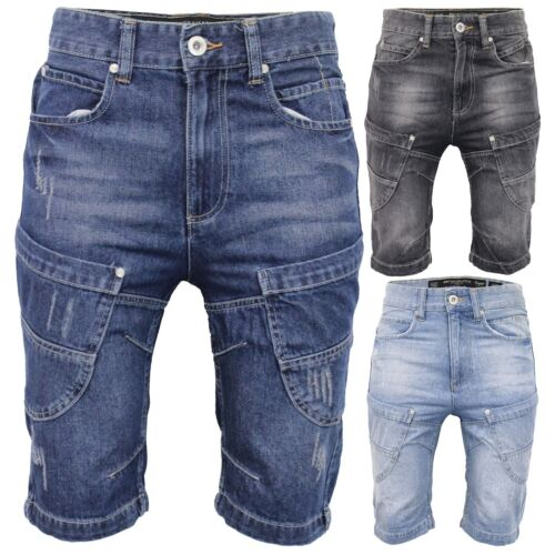 Mens Crosshatch Denim Long Shorts Combat Casual Cargo Ripped Style Multi Pockets