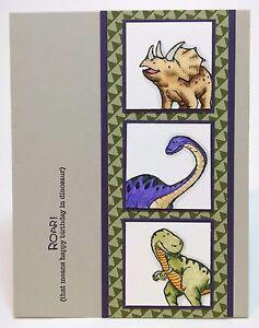 Stampin Up Handmade Child's Kid's Birthday Card Dinosaur