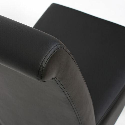 helle Füße 2x Esszimmerstuhl Cesena Kunstleder matt schwarz