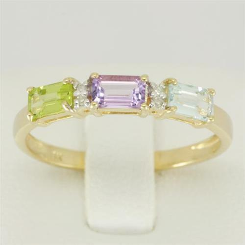 Natural Amethyst, Peridot & Blue topaz 9ct 9K Solid Gold Ring Bravo Jewellery