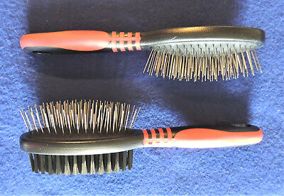 """Pin Brush Single or Double Sided Bristle Dog Cat Grooming Tool 8-3/4"""" Jeffers"""