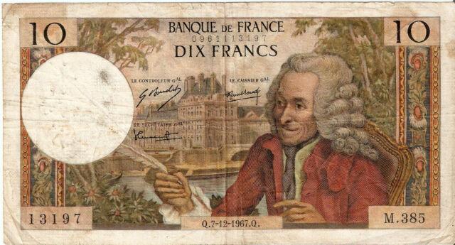France: 10 Francs Voltaire 7-12-67 VF+