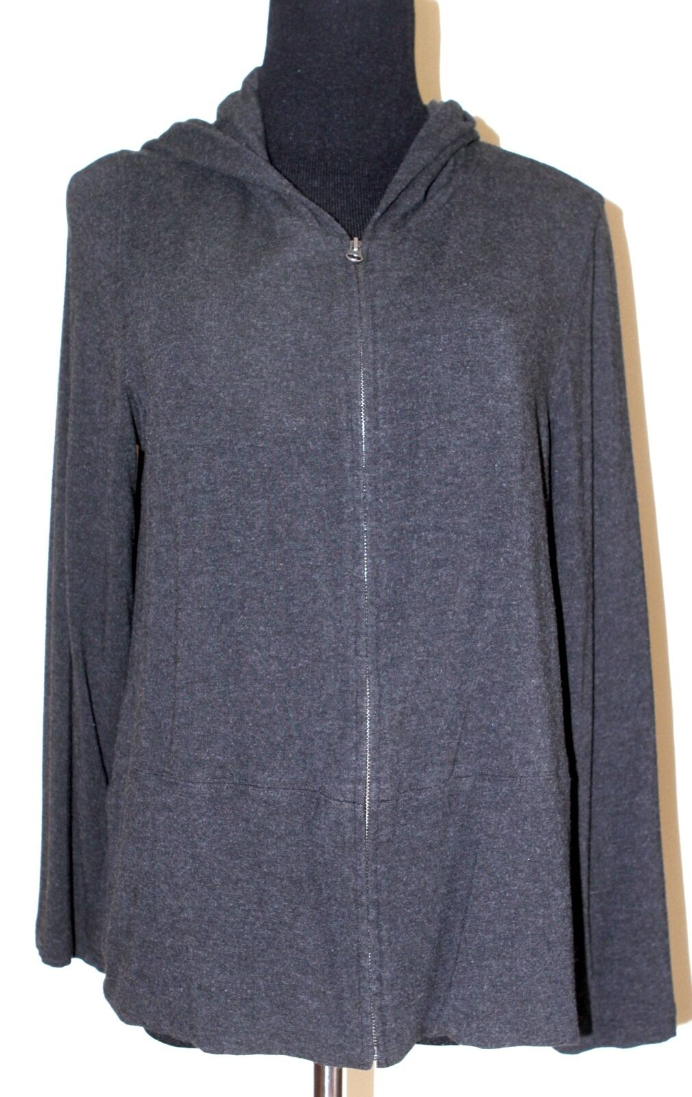 Eileen Fisher sz L Charcoal Hoodie Hooded Viscose Jacket - excellent condition
