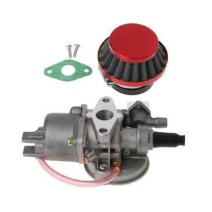 Carburetor Carb Carby+Red Air Filter+Stack For 2 Stroke 47/49cc Engine Part Moto