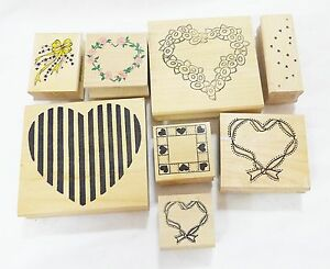 Rubber-stamp-wood-mounted-hearts-design-art-and-craft-lot-of-8