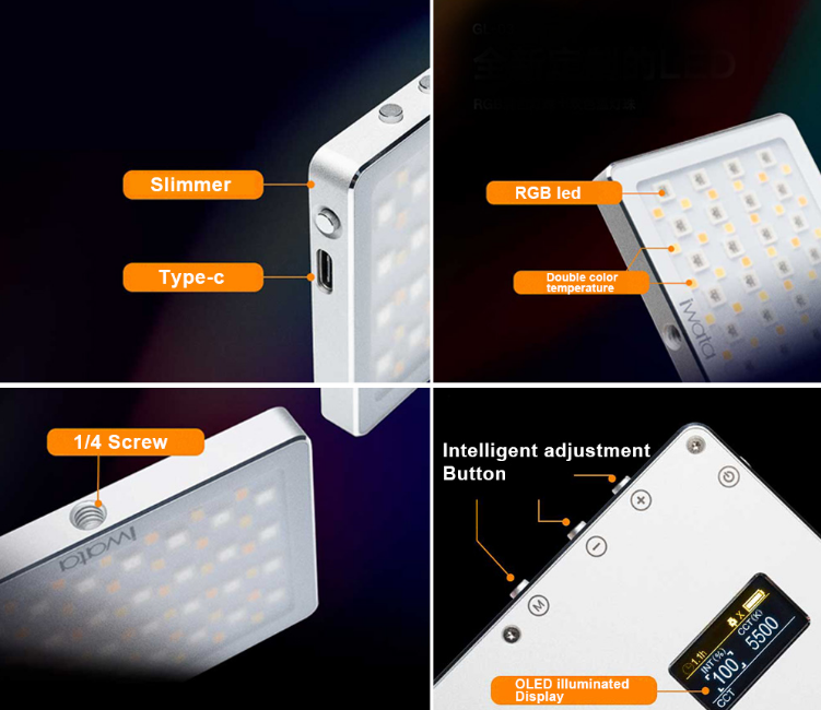Iwata GL-03 RGB Portable Pro Pocket LED Continuous Fill Light Indoor Night Shot