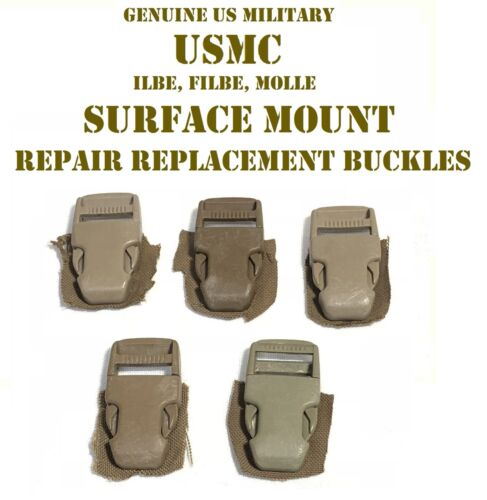 """SURFACE MOUNT REPAIR REPLACEMENT BUCKLES 5 SETS 1/"""" COYOTE USMC US MILITARY FILBE"""