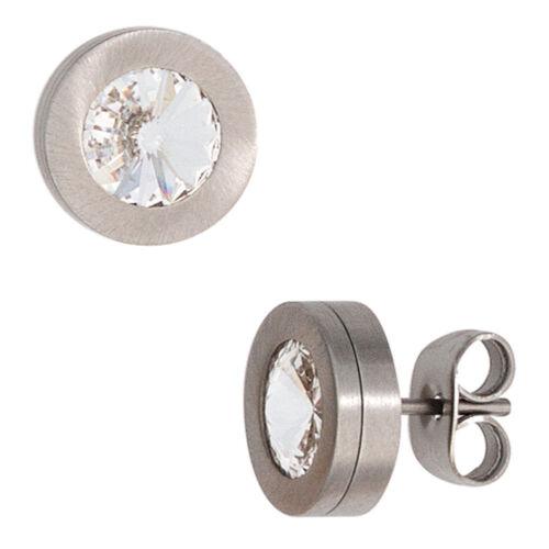 Ohrstecker Ohrringe rund 9,4mm Edelstahl matt mit Swarowski-Elements Damen