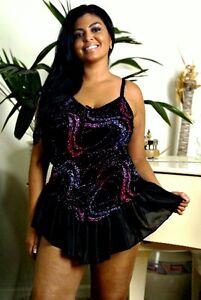 Black-Metallic-Print-Babydoll-and-Panty-Flounce-Skirt-1X-2X-Lingerie-Plus-Size