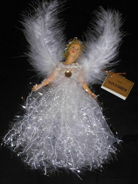 April Diamond Crystal Angel Christmas Birthstone Tree Ornament w//Winged Feathers
