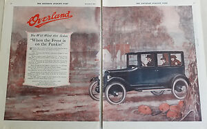1920-Antique-Willys-Overland-Sedan-Car-Two-Page-Color-Original-Ad