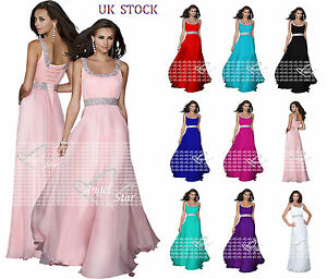 Long Formal Beaded Chiffon Bridesmaid Ball Gown Prom Party Evening Dresses New