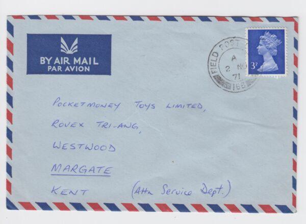 1971 Raf Gan Maldives Air Mail Cover Field Post Office 166 To Margate Prix De Vente