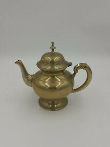 Vintage Round Heavy Brass Teapot Decorative Ornamental Hinged Lid