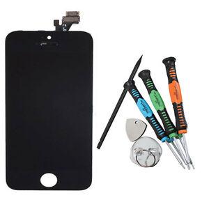 Ecran-LCD-Vitre-Tactile-Noire-pour-iPhone-5-NOIR-Facade-sur-chassis-avec-outils