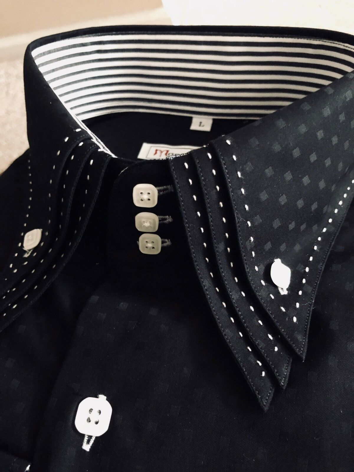 MorCouture Limited Edition Shadow Cube Triple Collar Shirt