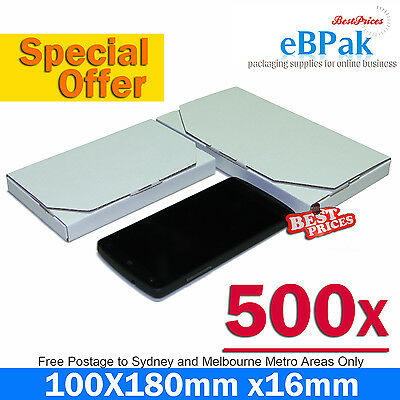 500x Mailing Box SuperFlat 180x100x16mm - White Large Letter Size Rigid Envelope
