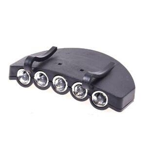 5-LED-Linterna-Lampara-Luz-de-clip-de-sombrero-gorra-de-cabeza-Manos-Libres-I2O1