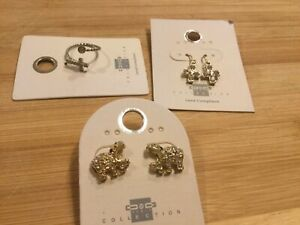 Girls-Jewelry-Lot-Crystal-Cross-Drop-Earrings-amp-Ring-Hippo-Stud-542