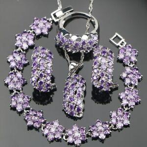 Violet-Zircone-Cristaux-Set-Collier-Bracelet-Boucles-925-Argent-Noel-Cadeau