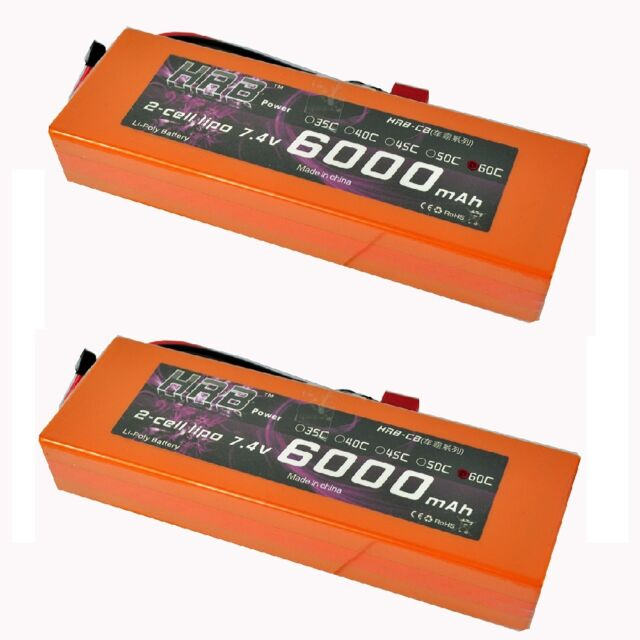 2x HRB Car Lipo Battery 7.4V 6000MAH 60C 120C Orange Hard Case Truck Traxxas Car