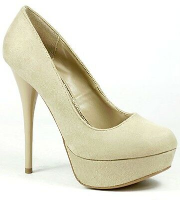 Taupe Beige Faux Suede High Heel Round Toe Platform Pump Qupid Neutral-01