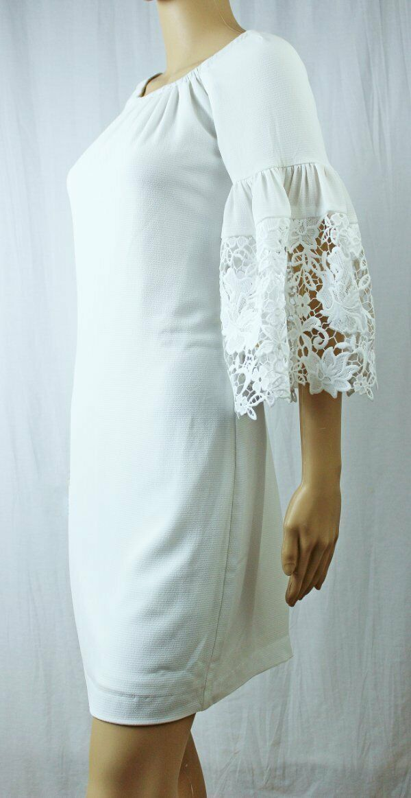 Lauren by Ralph Lauren Cream Crepe Shift Dress With Lace Bell SleevesNWT