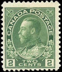 Mint-H-1922-Canada-F-Scott-107e-2c-King-George-V-Admiral-Stamp