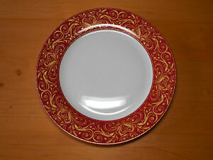 Image is loading JCP-JCPenney-Chris-Madden-MONTALIRA-RED-Set-of- & JCP JCPenney Chris Madden MONTALIRA RED Set of 4 Dinner Plates 10 5 ...
