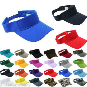 2bbb7279b54504 Plain Visor Sun Cap Sport Hat Adjustable Tennis Beach Men Women 7 ...