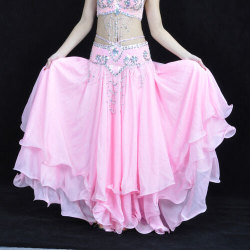 New Belly Dance Skirt Professional Performance Three Layers Skirt 13colors