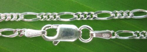 """MADE IN ITALY UNISEX 925 STERLING SILVER 2mm FIGARO 50cm 20/"""" CHAIN NECKLACE"""