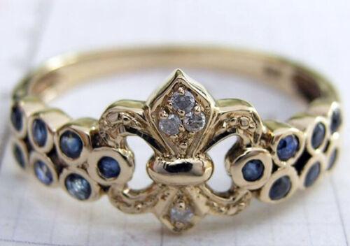 R132 Genuine 9ct Yellow Gold Natural Sapphire Diamond Fleur-de-lis Eternity Ring