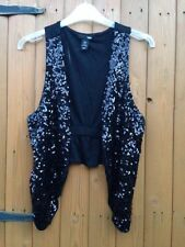 H&M Sequinned West Shrug Bolero Crop Cardigan Black Small 8 -10